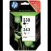 HP 338/343 Original Negro, Cian, Magenta, Amarillo Multipack 2 pieza(s)