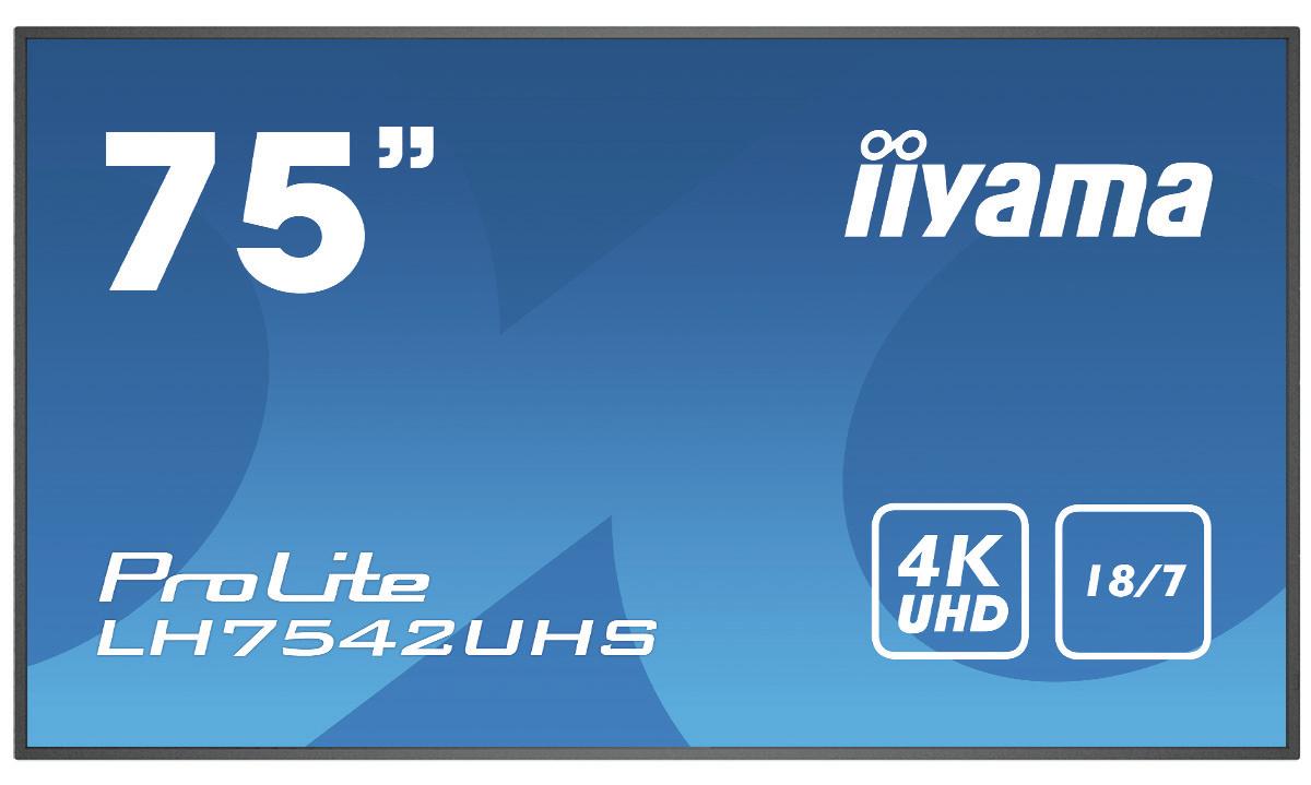 iiyama LH7542UHS-B1 signage display 189.2 cm 74.5