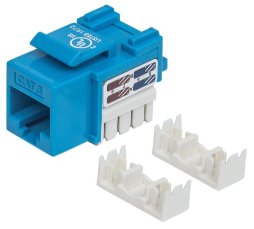 Intellinet Keystone Jack, Cat6, UTP, Punch-down, Blue