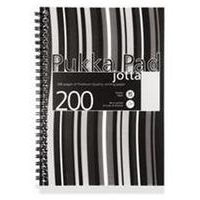 Pukka Jotta Notebook Wirebound Perforated Ruled 80gsm 200pp A5 Black Stripes Ref JP021-5 [Pack 3]