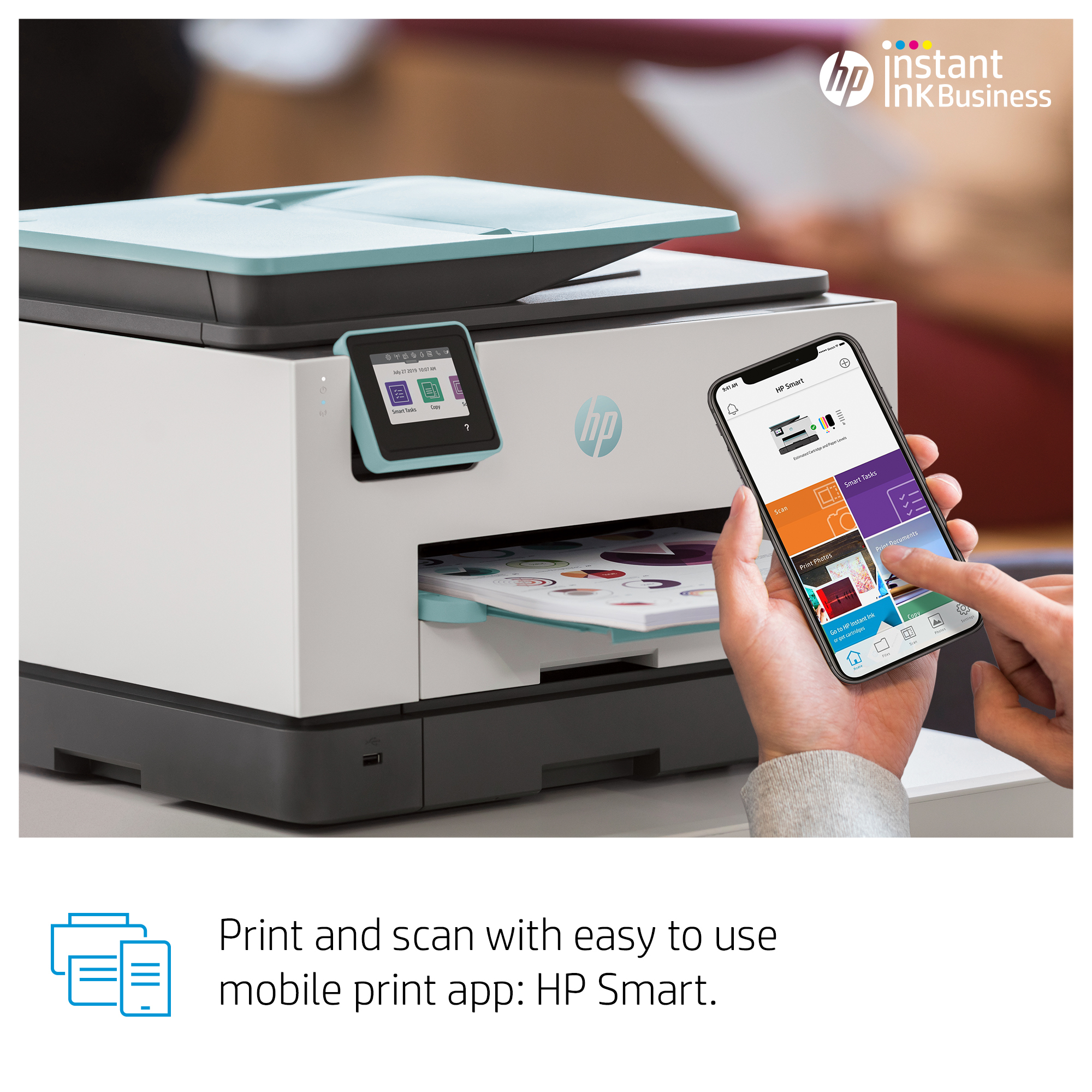HP OfficeJet Pro 9025 All-in-one wireless printer Print,Scan,Copy from your  phone, Instant Ink ready & voice activated (works with Alexa and Google