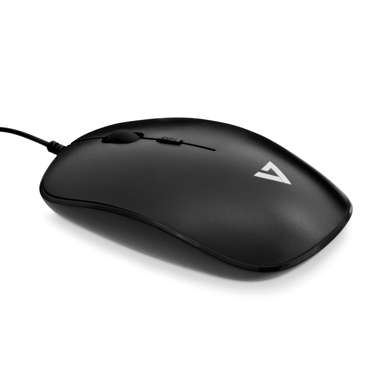 V7 Perfil bajo USB Óptico Ratón - Negro