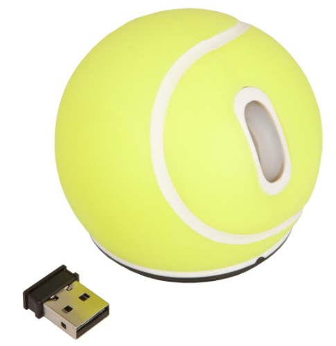 Urban Factory Mouse Wireless Tennis Ball Yellow 2.4HGz, 1200 dpi, 2 buttons & scroll, requires 2xAAA batteries