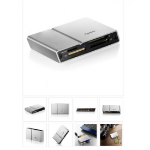 Apacer MegaSteno AM404 External USB2 Card Reader reads SDHC, Mini SDHC, MMC, MS Pro Duo and M2, Silver Alum