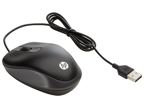 HP USB Travel Mouse USB Optical 1000DPI Ambidextrous Black mice