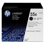 HP 55X originele high-capacity zwarte LaserJet tonercartridge, 2-pack