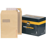 New Guardian Envelopes Heavyweight Board Backed Window Peel and Seal Manilla C4 [Pack 125]