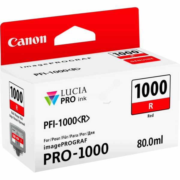 Canon 0554C001 (PFI-1000 R) Ink cartridge red, 3.17K pages, 80ml