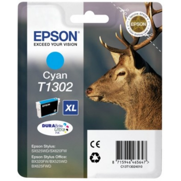 Epson C13T13024010 (T1302) Ink cartridge cyan, 765 pages, 10ml