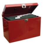 Cathedral Products Metal Home Filing Box with Files A4 Red