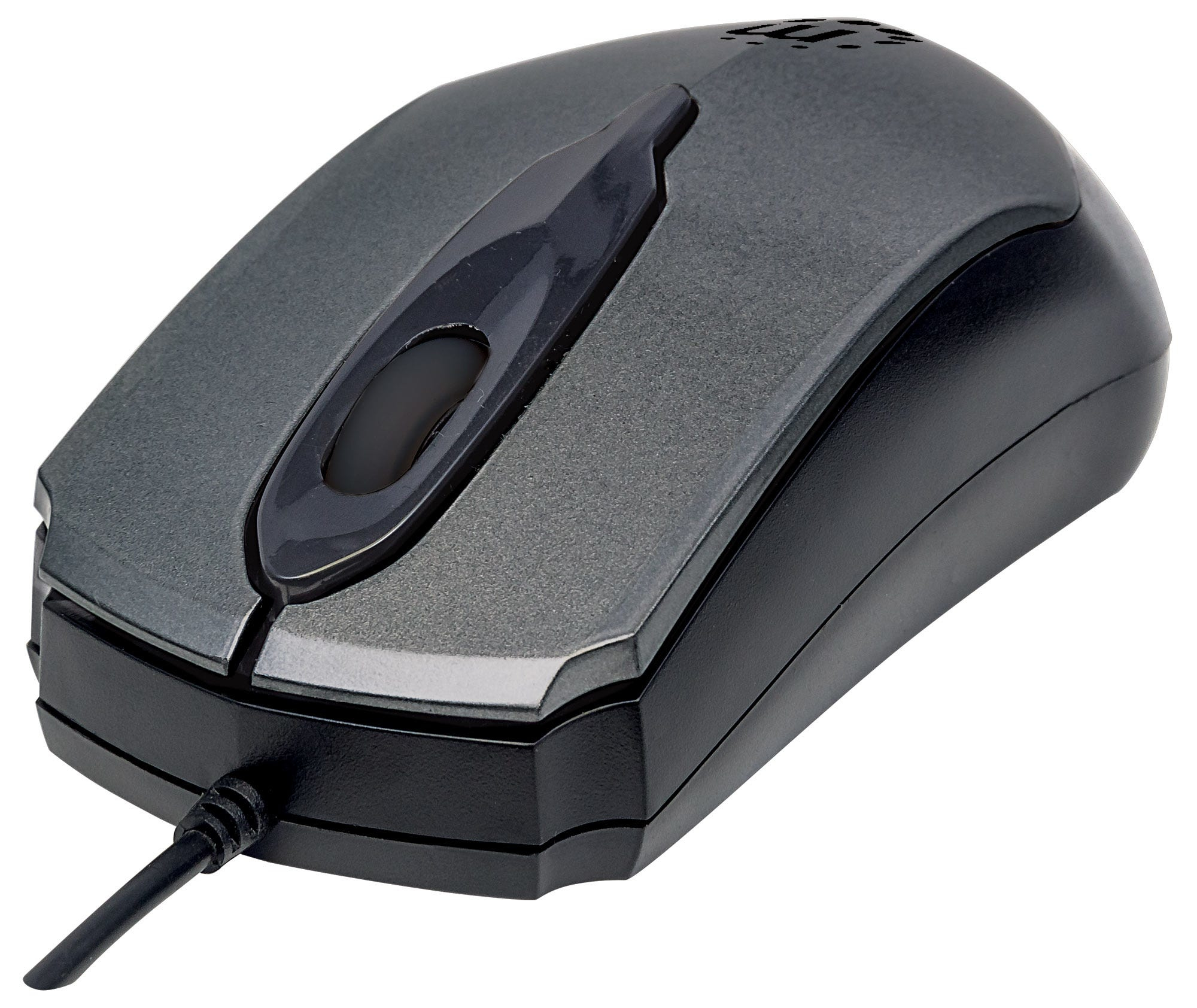 Manhattan Edge USB Wired Mouse, Grey, 1000dpi, USB-A, Optical, Compact, Three Button with Scroll Wheel, Low friction base, Blister