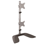 StarTech.com Vertical Dual Monitor Stand - Ergonomic Desktop Stacked Two Monitor Stand up to 27 inch VESA Mount Displays - Free Standing Universal Monitor Mount - Height Adjustable - Silver
