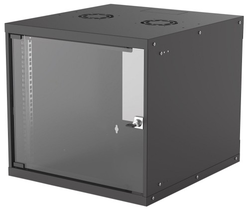 "Intellinet 19"" Basic Wallmount Cabinet, 9U, 560mm Deep, IP20-Rated Housing, Max 50kg, Flatpack, Black"