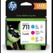 HP 711 Paquete de 3 cartuchos de tinta DesignJet cian/magenta/amarillo de 29 ml
