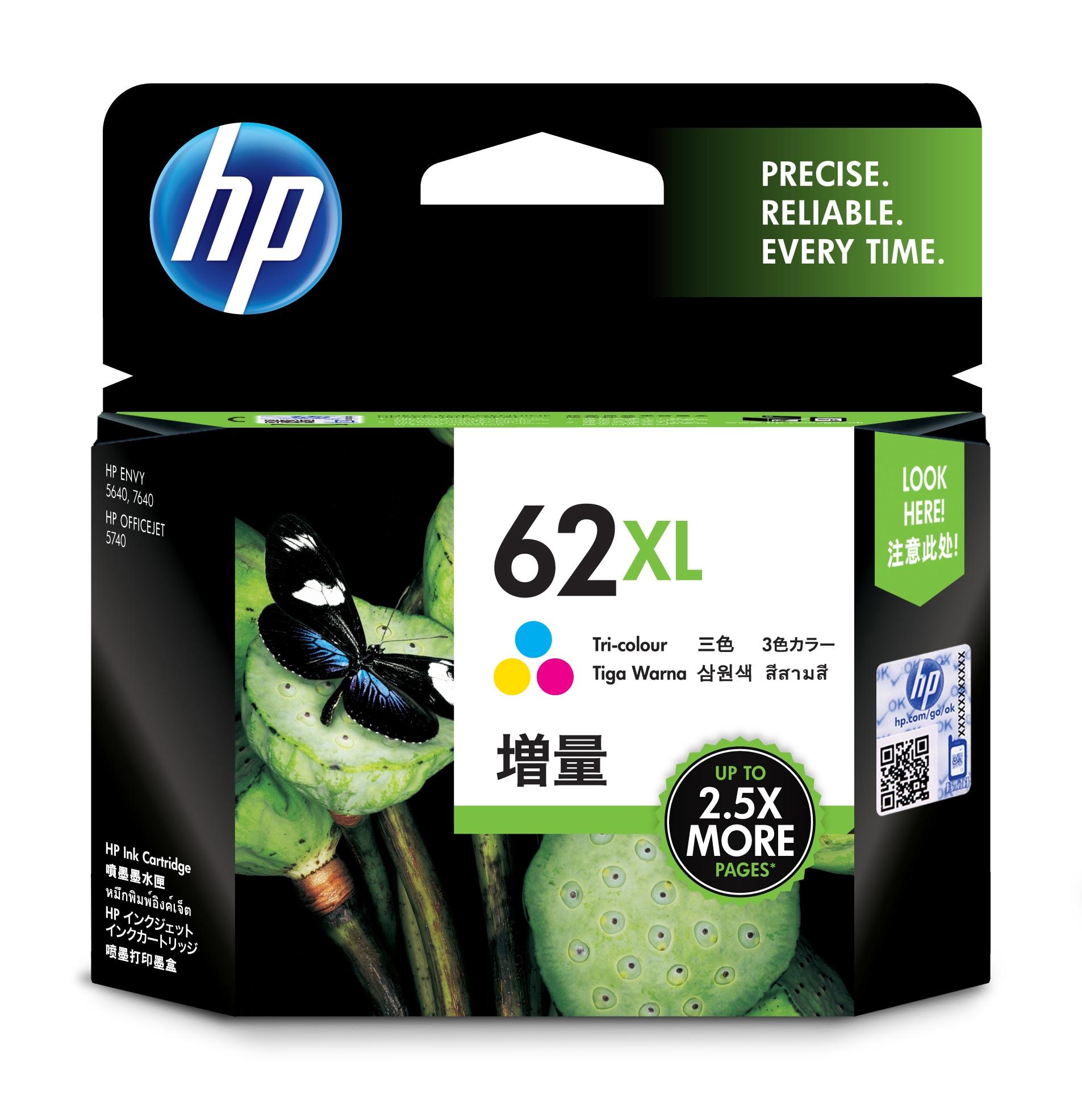 HP 62XL Original Cian, Magenta, Amarillo