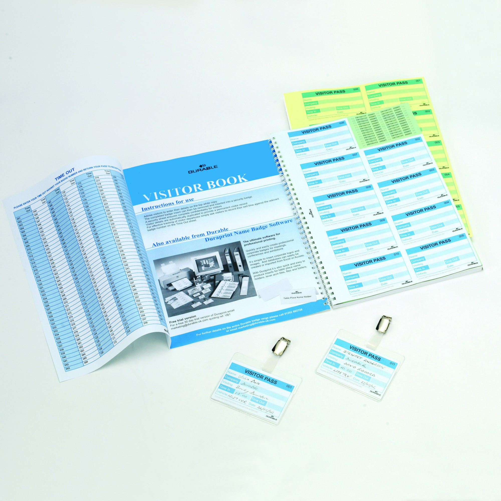 Durable Visitor Book 100 Badge Refill 60x90mm 146465