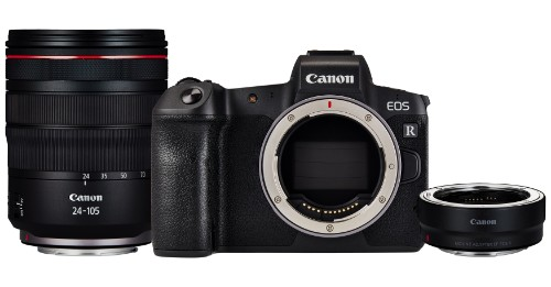 Canon EOS R 30.3MP Digital Camera - Black (Kit with RF 24-105mm f/4L IS USM Lens + Mount Adapter EF- R)