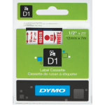DYMO LABEL TAPE DYMO D1 12MMX7M RED ON WHITE(EACH)