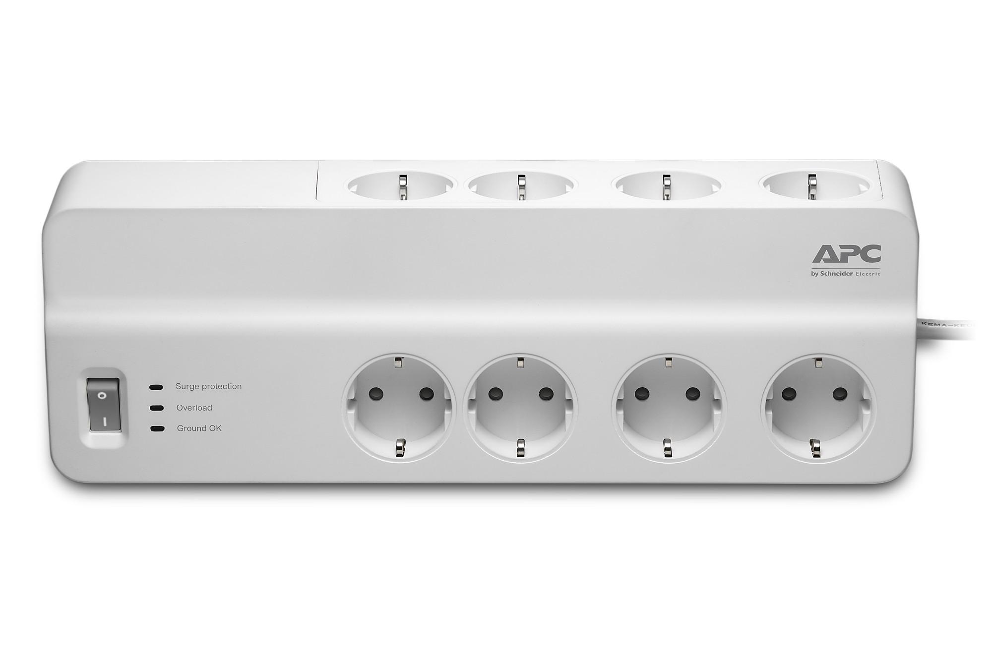 APC SurgeArrest Essential limitador de tensión 8 salidas AC 230 V 2 m Blanco