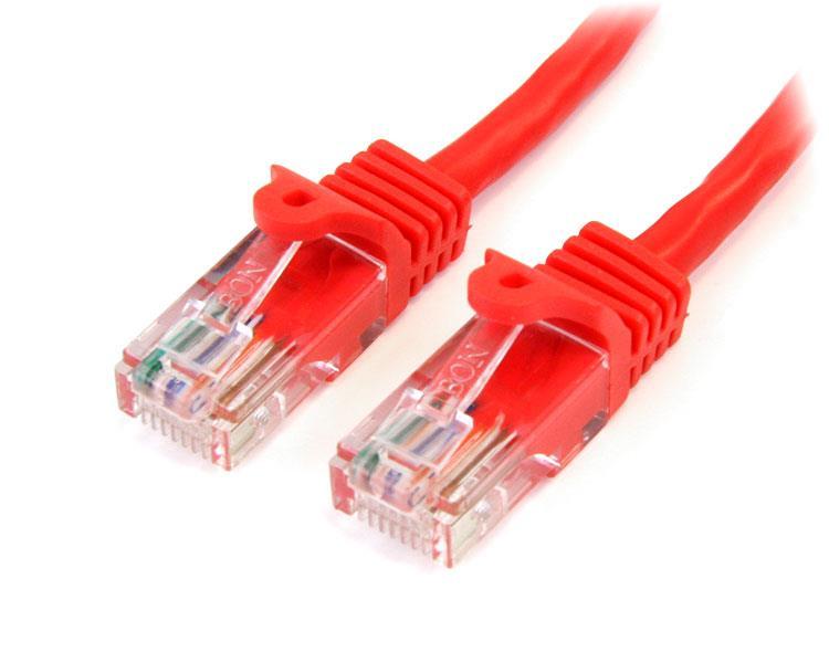 StarTech.com Cable de 2m Rojo de Red Fast Ethernet Cat5e RJ45 sin Enganche - Cable Patch Snagless