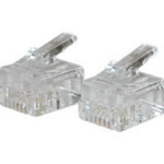 C2G Cables To Go RJ11 Modular Plug for Round Solid Cable - Phone Connector RJ11 Transparent wire connector