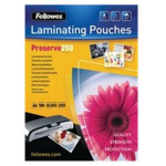 Fellowes A4 Glossy 250 Micron Laminating Pouch - 100 pack laminator pouch