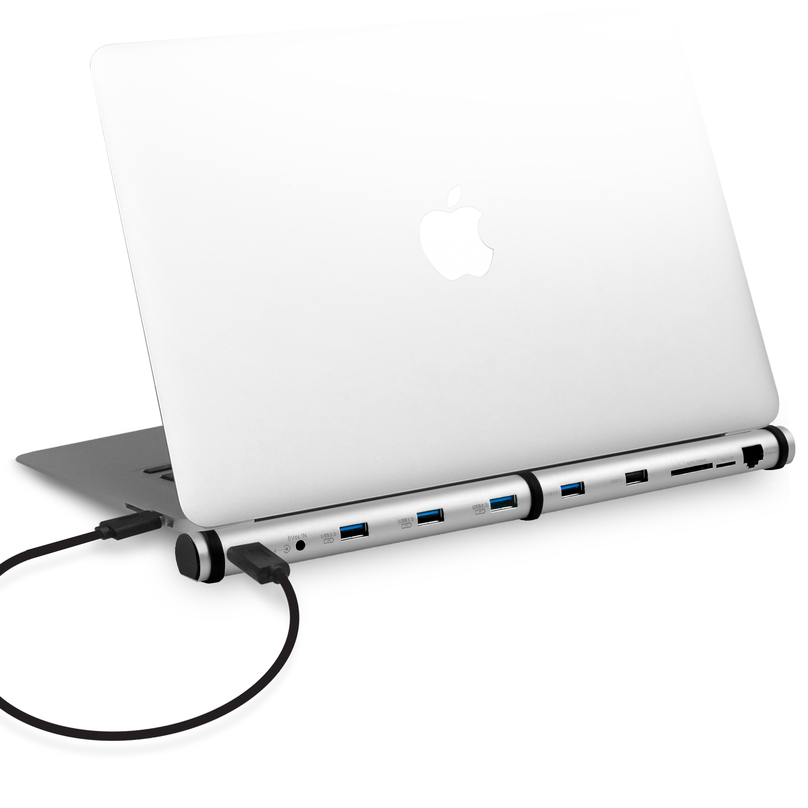 mBeat M-Sleek Docking Station For Notebook and Macbook in Silver Aluminium Housing
