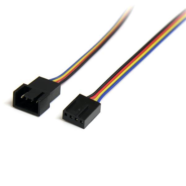 StarTech.com Cable Extensor 0,3m PWM 4 Pines Alimentación Ventilador Fan Placa Base Macho a Hembra