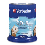Verbatim CD-R 80MIN 700MB 52X Blank White Surface 100pk Spindle 100 pcs