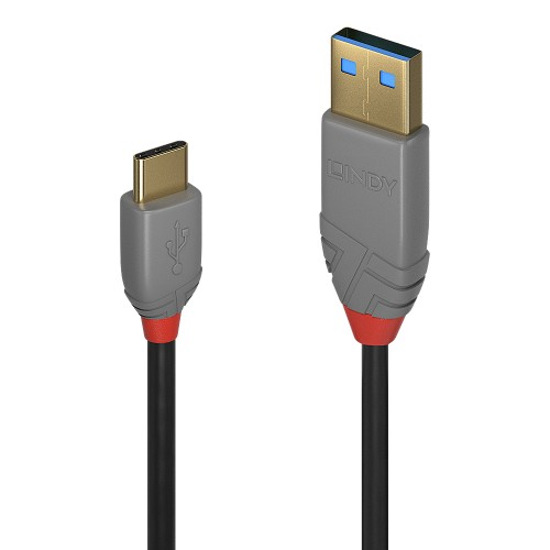 Lindy 36885 USB cable 0.5 m USB A USB C Male Black, Grey