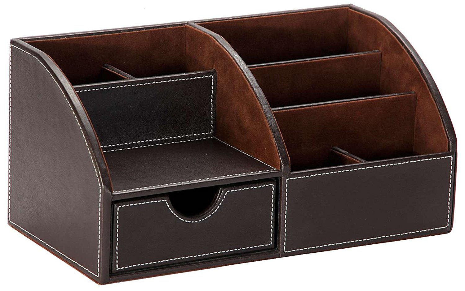 Osco Faux Leather Desk Organiser Brown