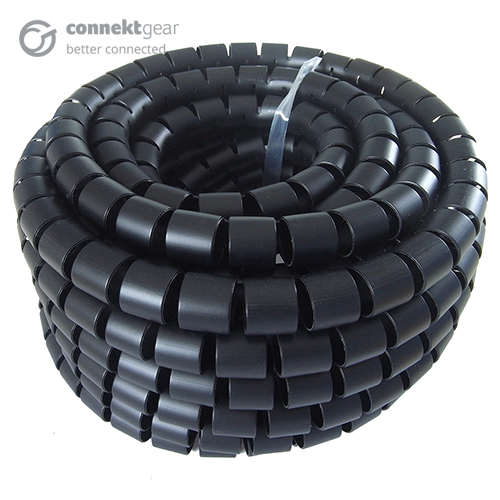 CONNEkT Gear 10m Cable Tidy Spiral Wrap with AppliCATion Tool 20mm OD - Black