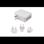 AEROCOOL International Travel 4 USB Fast Charger With Smart IC/ USA / UK /EU/ Australia Plug, Output: 5V 5.4A