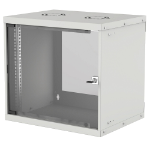 "Intellinet Network Cabinet, Wall Mount (Basic), 9U, 400mm Deep, Grey, Flatpack, Max 50kg, Glass Door, 19"", Three Year Warranty"