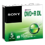 Sony DVD+R 8500MB 8X Recordable Slim Case - 5 Pack - (5DPR85SS)