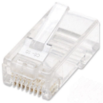 Intellinet RJ45 Modular Plugs, Cat6, UTP, 2-prong, for stranded wire, 15 µ gold plated contacts, 100 pack