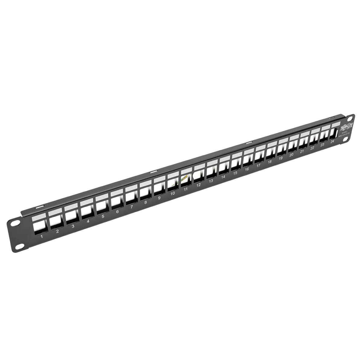 Tripp Lite 24-Port 1U Rack-Mount Shielded Blank Keystone/Multimedia Patch Panel, RJ45 Ethernet, USB, HDMI, Cat5e/6