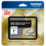 Brother TZEM355 label-making tape White on black TZe