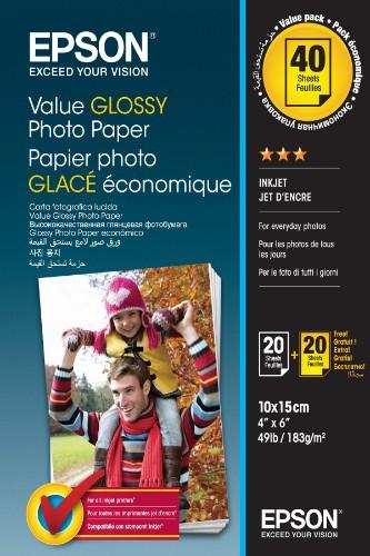 Epson Value Glossy Photo Paper - 10x15cm - 2x 20 sheets (BOGOF)