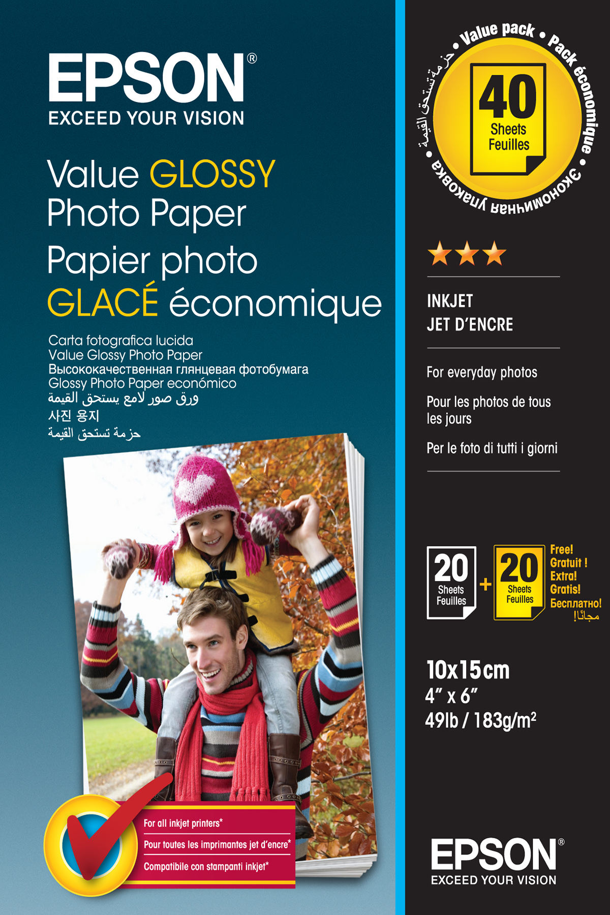 Epson Value Glossy Photo Paper - 10x15cm - 2x 20 sheets (BOGOF)