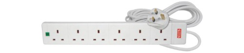 Mercury 429.850UK power extension Indoor 5 m 6 AC outlet(s) White