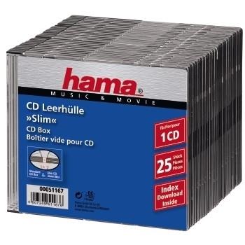Hama CD Slim Box, black, pack of 25 pcs 1discs Black