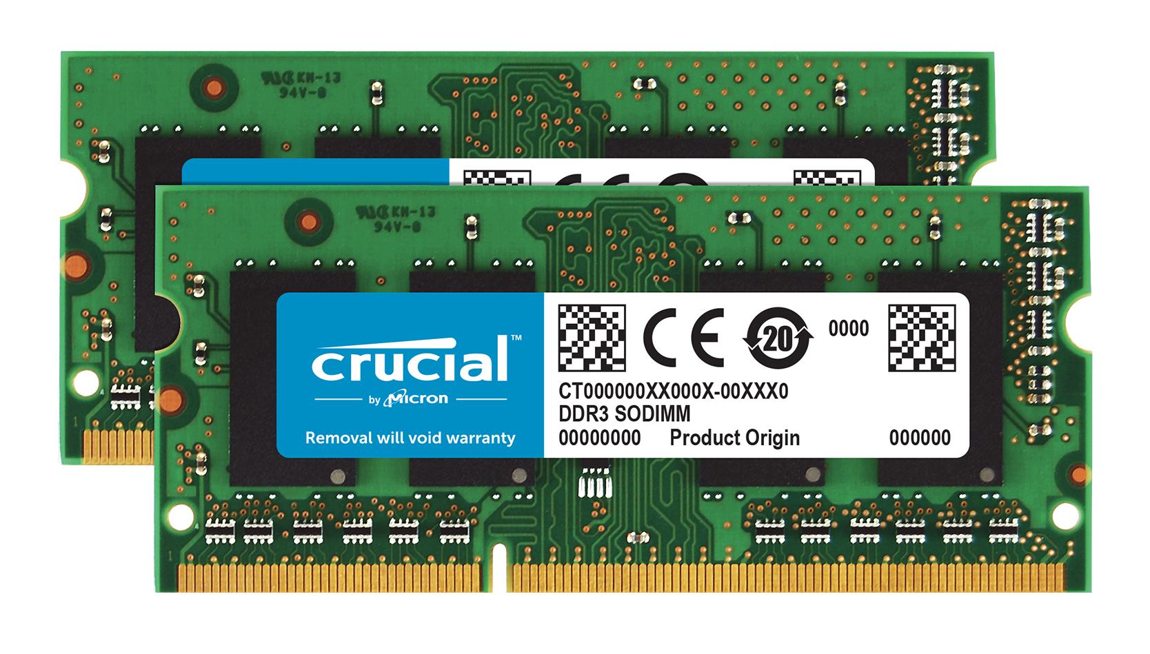 Memory 8GB Kit (4gbx2) 204-pin SoDIMM DDR3 1600MHz Pc3-12800 (ct2kit51264bf160b)