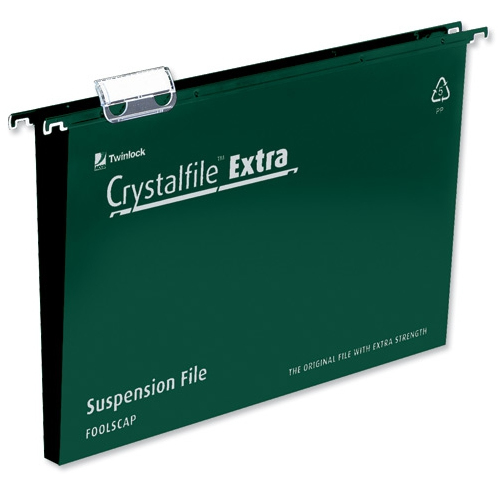Rexel Crystalfile Extra Foolscap Suspension File 50mm Green 25