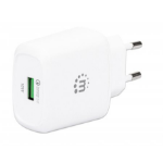 Manhattan Wall/Power Charger (Euro 2-pin), USB-A Port, Output: 1x 18W (Qualcomm Quick Charge), White, Three Year Warranty, Box