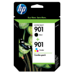 HP 901XL High Yield Black/901 Tri-color 2-pack 9ml 14ml 700pages 360pages Black, Cyan, Magenta, Yellow ink cartridge