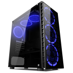 CIT Raider Mid-Tower Gaming Case With 4 x Halo Ring Blue Fans Tempered Glass Front Panel