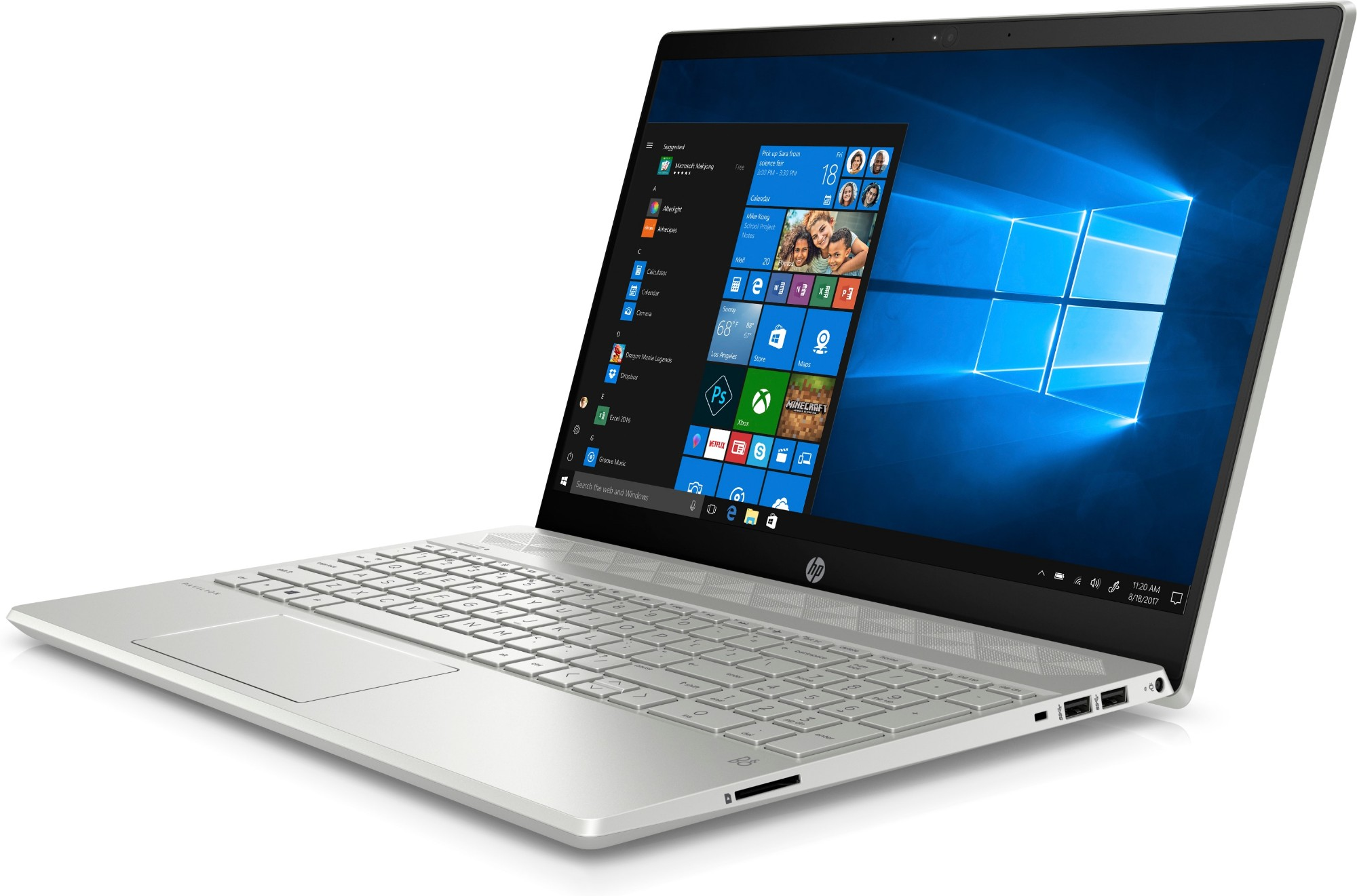 "HP Pavilion 15-cs1004na Silver Notebook 39.6 cm (15.6"") 1920 x 1080 pixels 8th gen Intel® Core™ i5 i5-8265U 8 GB DDR4-SDRAM 256 GB SSD"