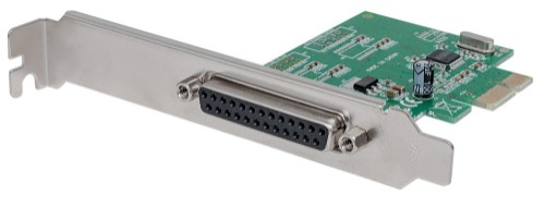 Manhattan Parallel PCI Express Card, One DB25 port, IEEE 1284, x1 x4 x8 x16 lane buses, Supports EPP/ECP/SPP modes, Box