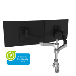 R-Go Tools R-Go Zepher 4 C2, Circular Dual Monitor Arm, Desk Mount, Adjustable, 0-8 kg, Black-Silver, Low Carbon Footprint